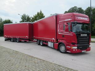 SCANIA R410 TOP LINE + KRONE, ZESTAW 120 M3 camión toldo + remolque toldo