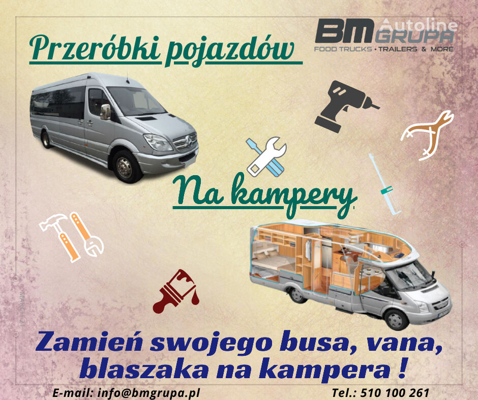 BMgrupa Przeróbki busów, vanów na kampery, Spezialumbauten - Umwandlung  remolque de venta nuevo